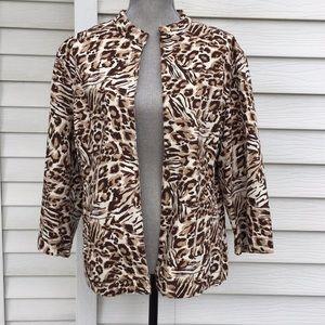 leopard print cotton jacket chicos oversized